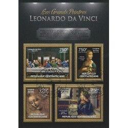 Léonard de Vinci bloc-feuillet de 4 timbres République Centrafricaine.