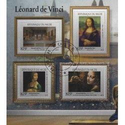 Léonard de Vinci bloc-feuillet de 4 timbres République du Niger.