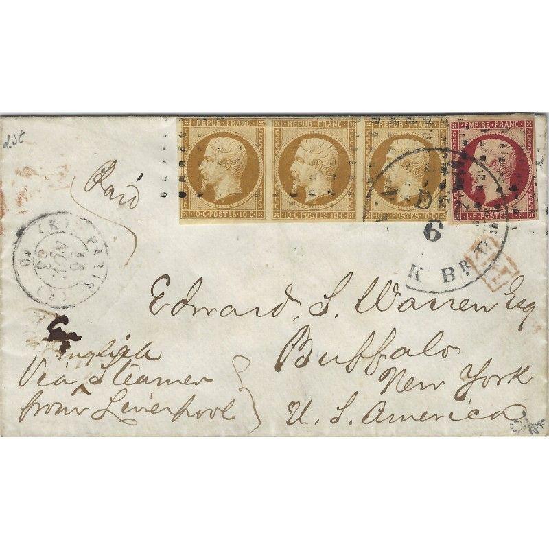 Présidence N°9 bande de 3 et Empire N°18 oblitérés sur enveloppe pour Buffalo, TB. RR