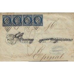Cérès non dentelé N°4 bande de 4 oblitéré grille sur lettre de Mulhouse 1851, TB.