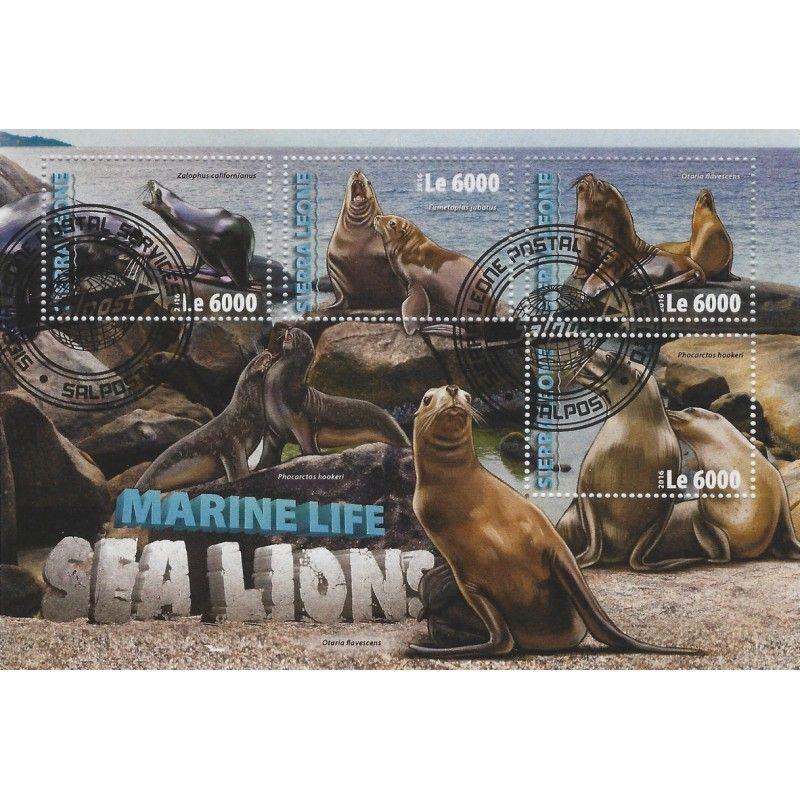 Les lions de mer bloc-feuillet de 4 timbres thématiques.