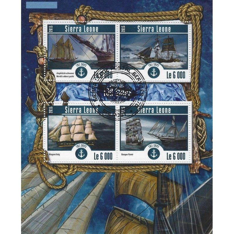 Les voiliers bloc-feuillet de 4 timbres thématiques.