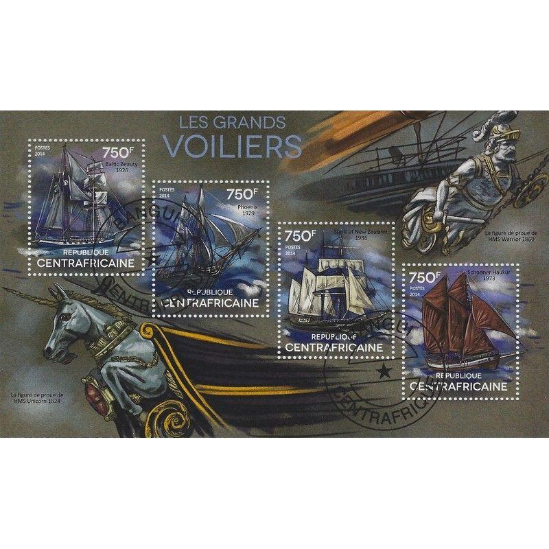 Les grands voiliers bloc-feuillet de 4 timbres thématiques.