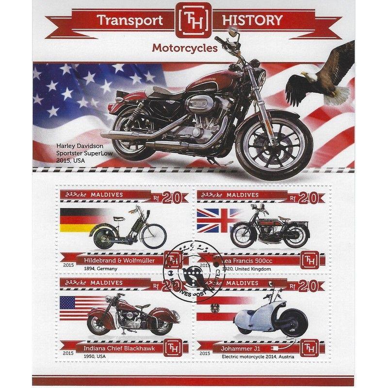 Histoire des motos bloc-feuillet de 4 timbres thématiques.