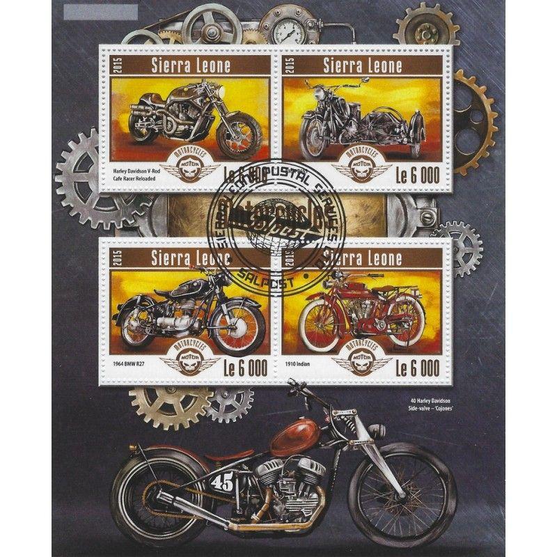 Les motos bloc-feuillet de 4 timbres thématiques.
