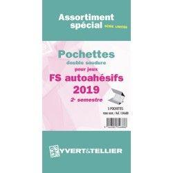 Assortiment de pochettes pour jeux timbres autoadhésifs FO/FS 2019 deuxième semestre.