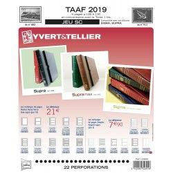 Jeux SC timbres des T.A.A.F. 2019 avec pochettes de protection.