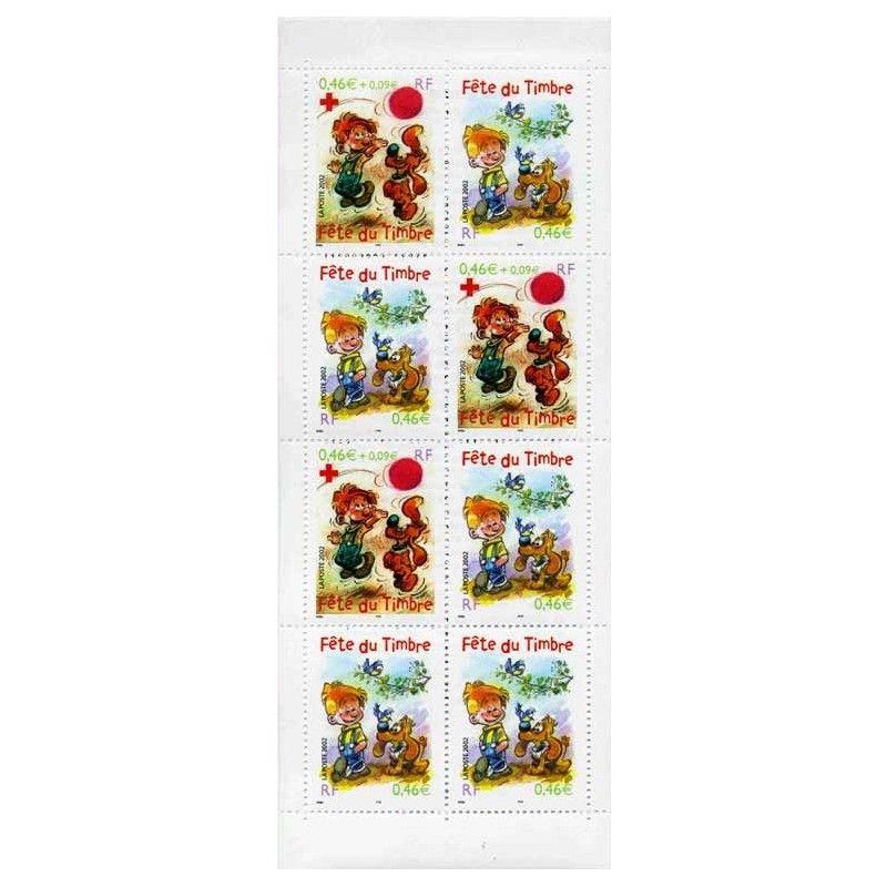 """Carnet """"Fête du timbre"""" 2002 - Boule & Bill."""
