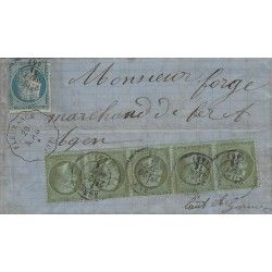 Affranchissement septembre 1871 timbres de France N°19 bande de 5 et 37 SUP. R