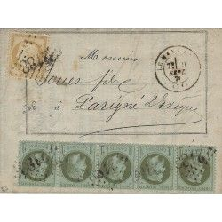 Affranchissement septembre 1871 timbres de France N°25 bande de 5 et 36 SUP. R
