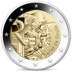 """2 euros commémorative """"Charles de Gaulle"""" 2020."""