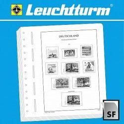"""Feuilles d'album Leuchtturm neutres pour timbres de distributeur """"Klüssendorf""""."""