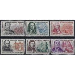 Célébrités 1961, timbres de France N° 1295-1300 série neuf** SUP.