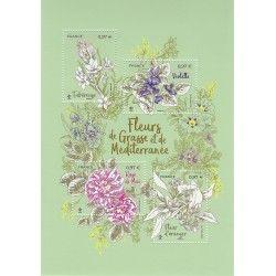 Bloc-feuillet de 4 timbres Fleurs de Grasse et Méditerranée neuf** SUP.
