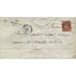 Cérès vermillon vif N°7 a oblitéré sur lettre avec cursive 1849. SUP. RRR