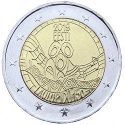 """2 euros commémorative Estonie """"150 ans du festival de la chanson"""" 2019."""