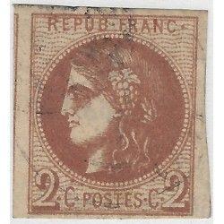 Bordeaux timbre de France N° 40Bg nuance chocolat oblitéré SUP.