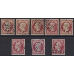 Empire non dentelé timbre de France N°17 lot de 8 exemplaires SUP.