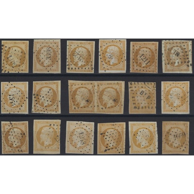 Empire non dentelé timbre de France N°13A lot de 17 exemplaires SUP.