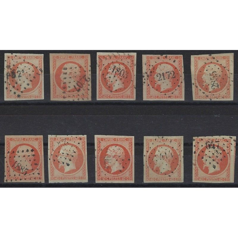 Empire non dentelé timbre de France N°16 lot de 10 exemplaires SUP.
