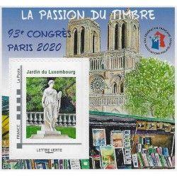 Bloc FFAP La passion du timbre -Paris 2020, autoadhésif.