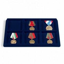 Plateaux numismatiques format L à 6 cases carrées pour médailles, insignes..