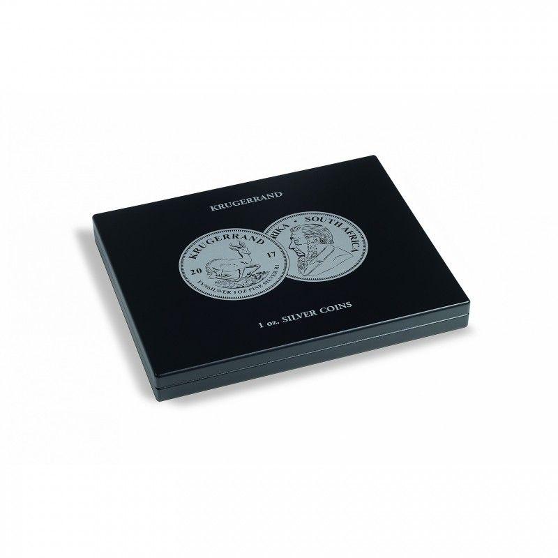 """Coffret noir pour 20 pièces de 1 once argent """"Krugerrand""""."""
