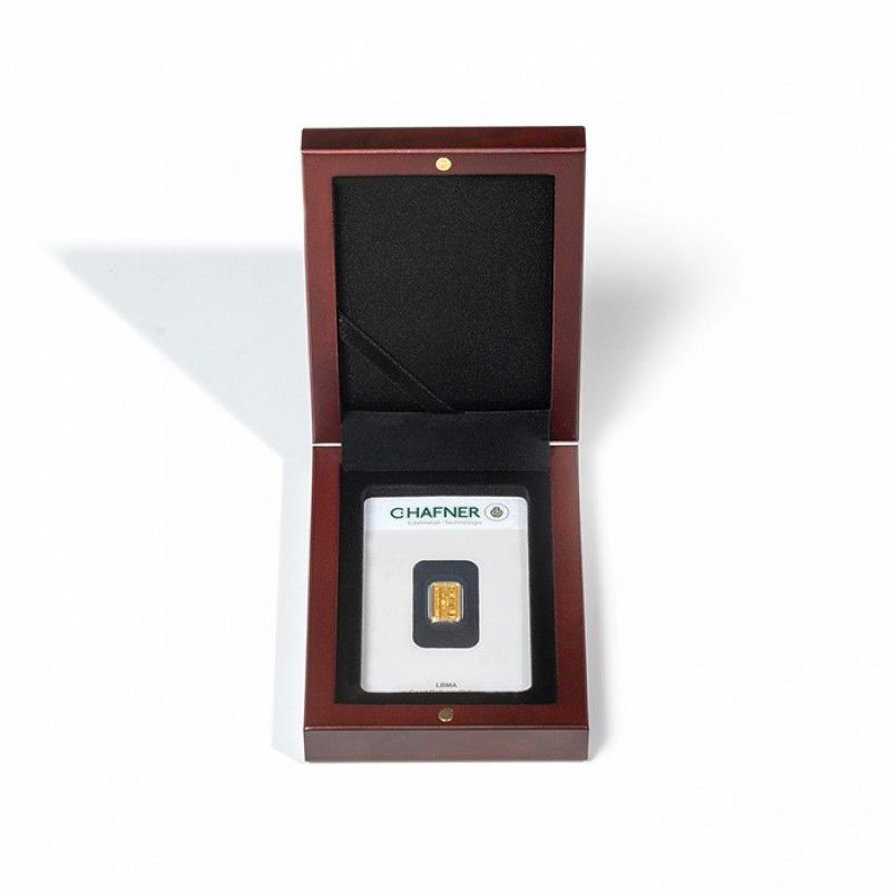 Écrin Volterra acajou pour 1 lingot d'or sous blister.