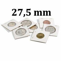 Etui carton à agrafer pour monnaies jusqu'à 27,5 mm.