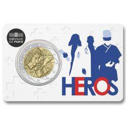 2 euros commémorative coincard BU France 2020 - Héros.