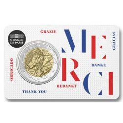 2 euros commémorative coincard BU France 2020 - Merci.