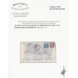 """""""Boule de Moulins"""" pli d'Honfleur 2 janvier 1871 pour Paris, TB. R"""