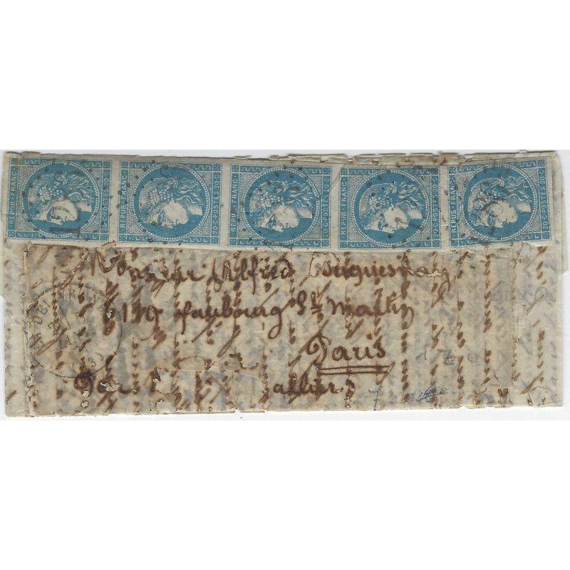 """""""Boule de Moulins"""" pli de la Délivrande 5 janvier 1871 pour Paris, TB / SUP. R"""