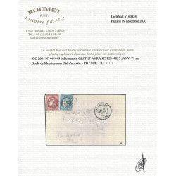 """""""Boule de Moulins"""" pli d'Avranches 3 janvier 1871 pour Paris, TB / SUP. R"""