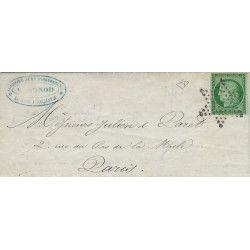Cérès non dentelé N°2 oblitéré étoile sur lettre de Paris 1853, SUP. R