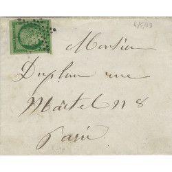 Cérès non dentelé N°2b oblitéré étoile sur lettre de Paris 1853, SUP. R