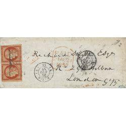 Cérès non dentelé N°5a paire oblitéré grille sans fin sur lettre pour Londres 1852, TB. R