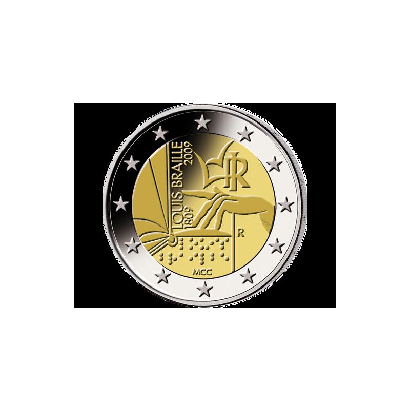 2 euros commémorative Italie 2009 - Louis Braille.