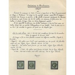 Type Bordeaux, étude de timbres oblitérés 1870, TB/SUP.