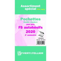 Assortiment de pochettes pour jeux timbres autoadhésifs FO/FS 2020 deuxième semestre.