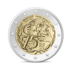 "2 euros commémorative France ""UNICEF"" 2021."