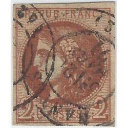 Bordeaux timbre de France N° 40Bd brun-rouge foncé oblitéré TB.