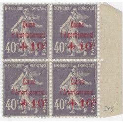 Caisse d'Amortissement timbre de France N° 249 bloc de 4 neuf** SUP.