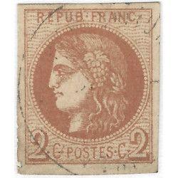 Bordeaux timbre de France N° 40Be brun-clair oblitéré TB.
