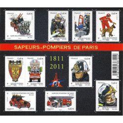 Feuillet de 10 timbres Sapeurs-Pompiers de Paris F4582 neuf** SUP.