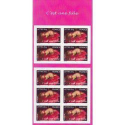 Carnet autoadhésif de timbres naissances - c'est une fille, neuf SUP.