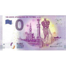 Billet Euro souvenir 100 ans des apparitions de Fatima 2017 neuf SUP.