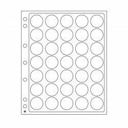 Feuilles plastique Encap à 35 cases rondes pour capsules 28 à 30 mm.