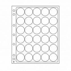 Feuilles plastique Encap à 30 cases rondes pour capsules 30 à 31 mm.