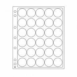Feuilles plastique Encap à 30 cases rondes pour capsules 32 à 33 mm.